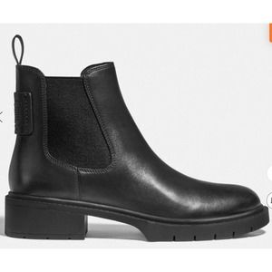 COACH Lyden Black Leather Chelsea Pull On Boots 9